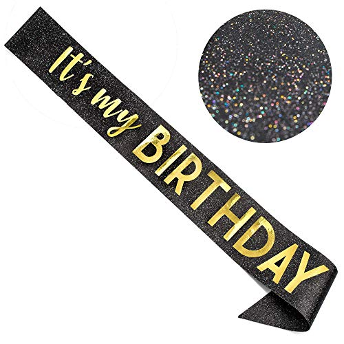 CORRURE 'It's My Birthday' Sash Glitter with Gold Foil - Black Glitter Birthday Sash for Women and Men - Happy Birthday Sash for Girls, Sweet 16, 18th 21st 25th 30th 40th 50th or Any Other Bday Party