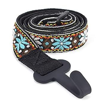 CLOUDMUSIC Colorful Hawaiian Jacquard Woven J Hook Clip On Ukulele Strap Ukulele Belt For Soprano Concert Tenor Ukulele  Blue White Flower