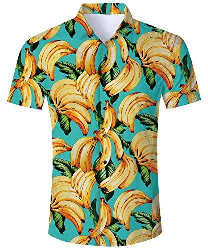 TUONROAD Hawaiihemd Herren 3D Banane Funky Sommerhemden Shirts Männer Kurzarm Hawaii Hemd Button Down Freizeithemden Strandhemd M