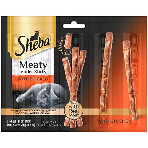 SHEBA Meaty Tender Sticks Soft Cat Treats Chicken Flavor, (5) 0.14 oz. Sticks