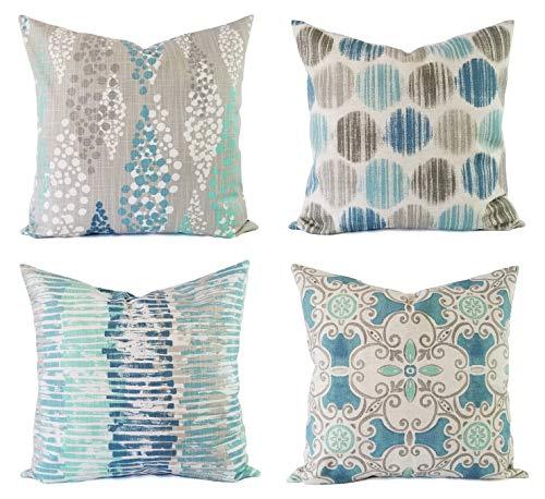 32Butler - Funda de cojín Azul y Gris, Decorativa, Moderna, Color Azul y Gris