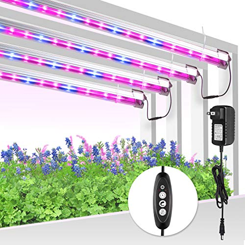 Led Grow Light Strip for Indoor Plants, Full Spectrum Auto On & Off Grow Lamp with Auto Cycle Timer/Extension Cables T5 Plant Lights Bar 4 Dimmable Levels for Indoor Plants Hydroponics - 4Pack
