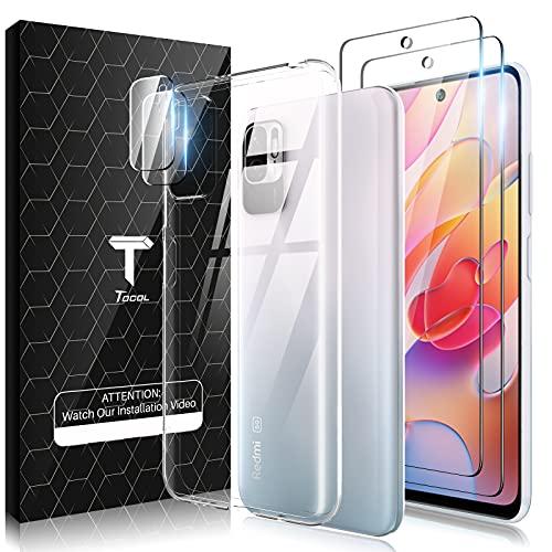TOCOL Funda Compatible Xiaomi Redmi Note 10 5G/Poco M3 Pro 5G, 2 Piezas Protector Pantalla 2 Piezas Lente de cámara Vidrio Templado HD Clara Carcasa Suave TPU Ultrafina Anticoque Case, Transparente