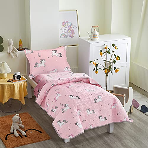 Unicorn 4 Pieces Summer Quilted Toddler Bedding Set with Colorful Rainbow Stars Pink Cute Girls 4PC Toddler Bed Set - 1 Quilt + 1 Flat Sheet + 1 Fitted Sheet +1 Standard Pillowcase