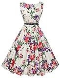 Vintage 1950's Inspired Dresses Pink Floral A-Line Size L F-21