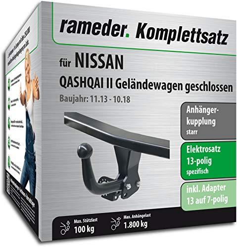 Rameder Komplettsatz, Anhängerkupplung starr + 13pol Elektrik für Nissan Qashqai II Geländewagen geschlossen (148676-11757-1)