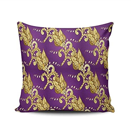 BONRI Funda de almohada cuadrada decorativa con brocado floral en color lila dorado para el hogar, sofá, 45,7 x 45,7 cm
