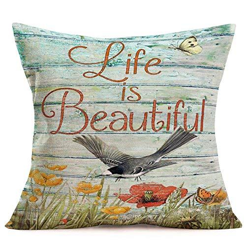 375 Fundas de almohada decorativas de madera rústica, de algodón, lino, amapolas, pájaros, pintura de mariposas, hojas, insectos, vida es hermosa, fundas de almohada de 45,7 x 45,7 cm
