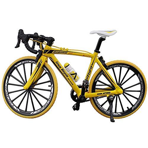 Matedepreso Colección Decor Diecast Toys Mini Bend Bicicleta Modelo Carreras Ciclo Bicicleta Montaña (Amarillo)
