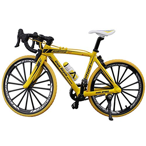 Matedepreso Collection Decor Diecast Toys Mini Bend Bicicletta Modello Racing Cycle Mountain Bike (Giallo)