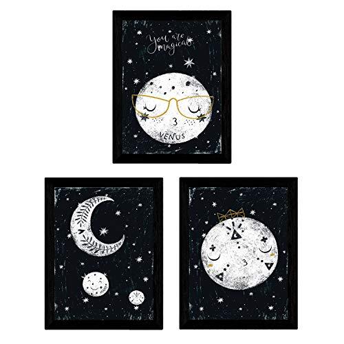Set de 3 láminas de Planetas y luna ,en tamaño A4, Poster papel 250 gr alta calidad. Sin Marco