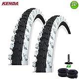 2 x Kenda K-829 Fahrrad Reifen schwarz/weiß 24 x 1,95 50-507 mit 2 Schläuchen AV