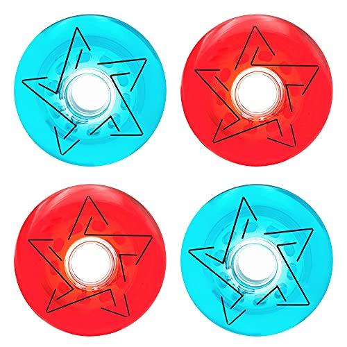 TGHY 8 Piezas Rueda de Repuesto de Patines en Línea 83A Rueda de PU Translúcida Juego de Dos Colores Rojo Azul Patrón de Estrella de Cinco Puntas para Patinaje Libre,80mm