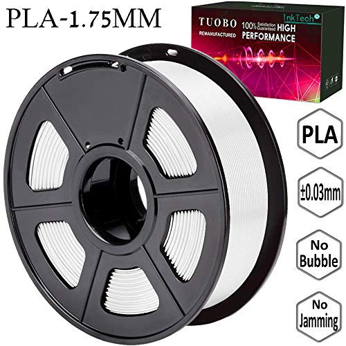 Tuobo PLA Filament 1.75mm White 3D Printer Consumables, 1kg Spool (2.2lbs), Dimensional Accuracy +/- 0.05 mm, Fit for Most DIY Printer and 3D Pen