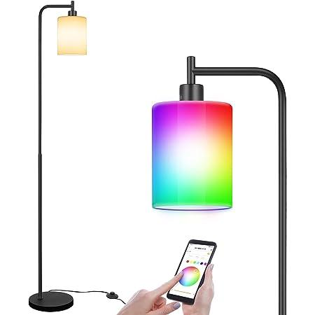 Linkind Lampadaire WiFi Smart RGB à intensité variable - En métal et verre - Avec ampoule E27 Smart RGBW - Pour salon et chambre à coucher