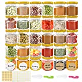 Superlele 30pcs 1.5oz Mini Hexagon Glass Jar Honey Bottle with 4pcs Sticker Sheets, 2pcs Brush for Party, Honey, Spice and Kitchen Supplies Storage