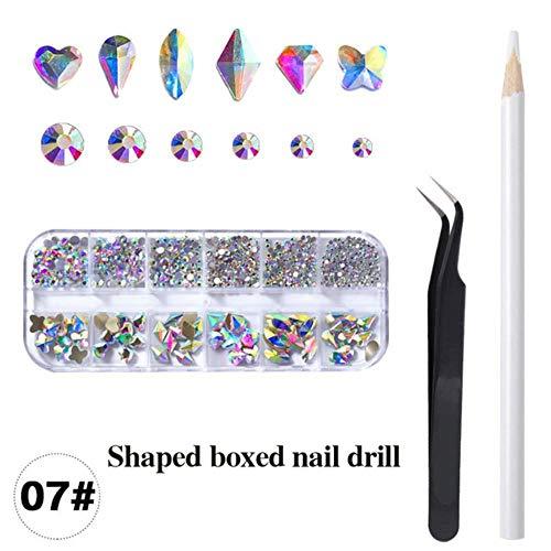Mélanger 12 styles Crystal AB 3D Nail Art Strass Flatback Crystals Fluorescence Stones Nails Box Set Pour DIY Nail Decoration, 07