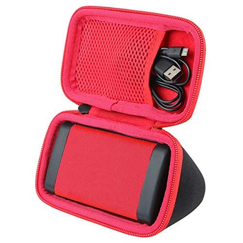 co2crea Hard Travel Case for OontZ Angle 3 3rd Gen Cambridge Soundworks Bluetooth Portable Speaker (Black Case + Inside Red)