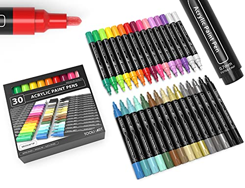 30 Acrylic Paint Markers Paint Pens Assorted Vibrant Markers Set 3.0mm Medium Tip for Rock Painting, Canvas, Glass Paint, Mugs, Wood, Ceramic, Fabric, Metal, Scrapbooking. Non Toxic, Quick Drying