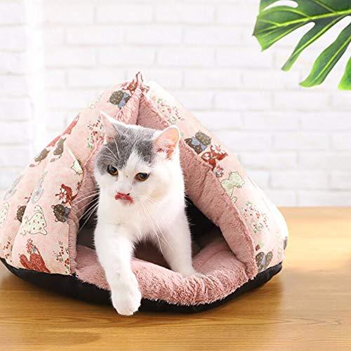 MiaoMiao 2018 Nieuwe Canvas Driehoek Cat/Hond Bed huisdier grot & huis Winter huisdier slaapzak kat nest zacht warm huisdier nest matten, PinkS