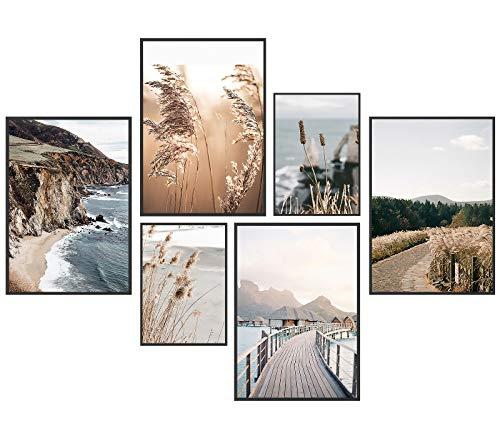 Premium Poster Set, 6 Bilder als stilvolle Wanddeko, wandbilder für wohnzimmer schlafzimmer flur deko, modern bild für wand dekoration,wandbild,wandposter