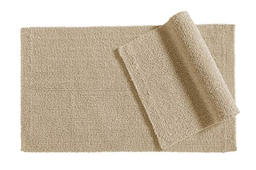 AmazonBasics Reversible Everyday Cotton Bath Rug, Set of 2, 17' x 24' Inch, Taupe