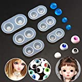 6 Pieces Doll Eyes Silicone Jewelry Toy Making Mold Eyeball Dome Crystal Resin Epoxy Jewellry Casting Mould Craft Molds Handmade DIY Tool