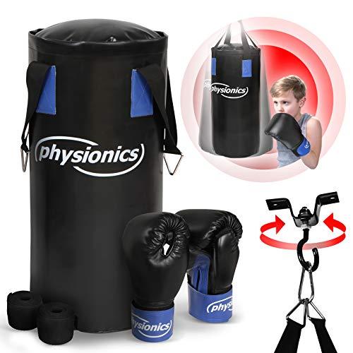 Physionics® Kinder Boxsack-Set - mit Boxhandschuhen 8oz, Gefüllt, Ø25 cm, H55 cm, Gewicht 10kg, inkl. Karabinerhaken, für Junior Training - Sandsack, Kickboxen, MMA, Kampfsport, Punching Bag