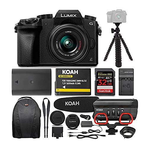 Panasonic LUMIX G7 Digital Camera with 14-42mm f/3.5-5.6 Lens and Koah Microphone Accessory Bundle (6 Items)