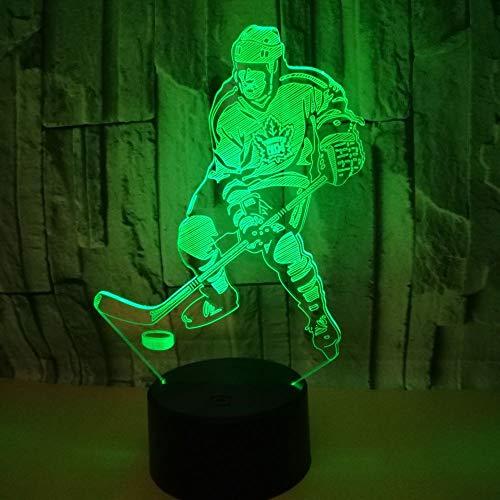 3D Optical Illusion Lampe Hockey Spieler Led Nachtlicht, Usb-Stromversorgung 16 Farben Blinken Berührungsschalter Schlafzimmer Schreibtischlampe Für Kinder Weihnachts Geschenk