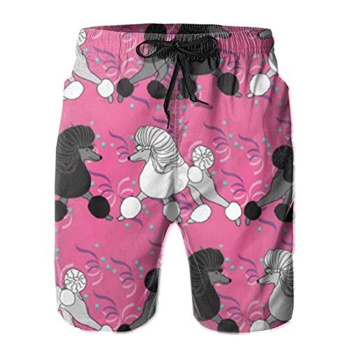 MayBlosom Pantalones cortos de playa para hombre, para fiesta, caniches, verano, de secado rápido, pantalones cortos divertidos 3D, ropa de playa con cordón