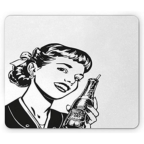 HJJL Mauspad Soda Mouse Pad, Vintage Girl with Canada Soda Advertisement Retro Poster Style Fifties, Rectangle Non-Slip Rubber Mousepad