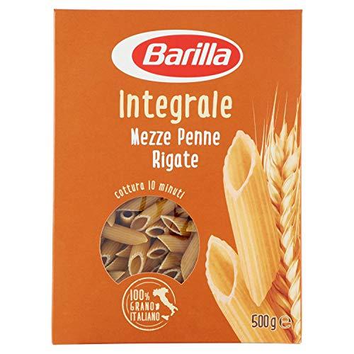 Barilla Pasta Mezze Penne Rigate Integrali, Pasta Corta di Semola Integrale di Grano Duro, Integrale, 500 g