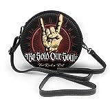 Bolsos de hombro Bolsos redondos para mujer Hard Rock, Heavy Metal, Sign Of The Horns, Rock Sign Hand, Rock Vector Logo. Bandolera Crossbody de Cuero