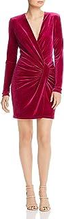 BLACK HALO Womens Pink Solid Long Sleeve V Neck Short Wrap Dress Party Dress AU Size:12