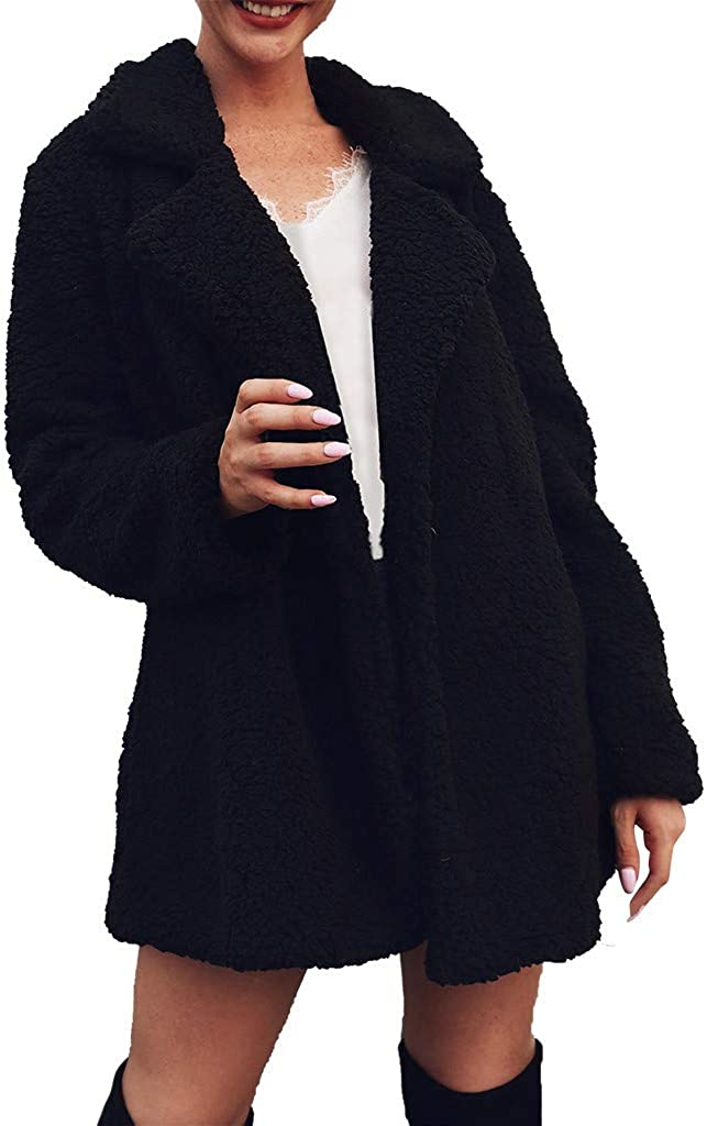 Mikey Store Women's Faux Fur Lamb Wool Cardigan Jacket Solid Color Lapel Winter Furry Fashion Formal Jacket
