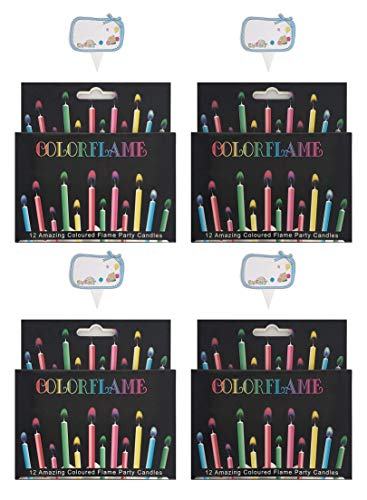Kemladio Birthday Cake Candles Happy Birthday Candles Colorful Candles Holders Included (Colorful, 48)