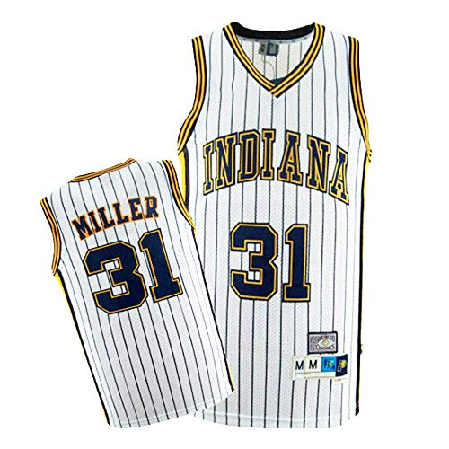 CCKWX Maglie Basket Uomo-Indiana Pacers # 31 Reggie Miller Jersey, Tessuto Traspirante Fresco Swingman Unisex T-Shirt Classica Senza Maniche,Bianca,L:180cm/75~85kg