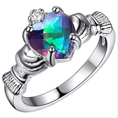 IWINO 925 ring voor vrouwen met hartvormige edelsteen amethist saffier robijn topaas hart in hand maat 6-9