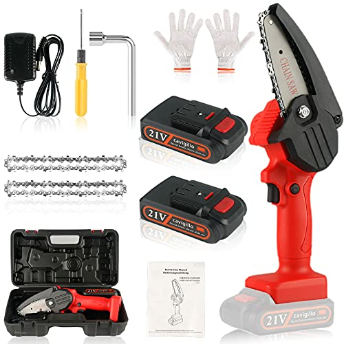 Mini Chainsaw,Mini Chainsaw Cordless,Electric Chainsaw,4 Inch Mini Cordless Chainsaw Kit with 2 Batteries and 2 Chains,One-Handed Portable Battery Chainsaw for Garden Bush Branch Pruning Wood Cutting