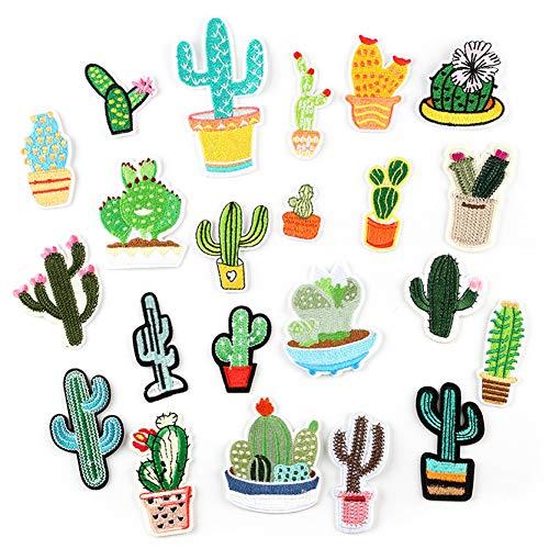 Ototon Aufnäher, Bestickt, Kaktus, Stickerei, kreativ, Dekoration, Zubehör für Näharbeiten, Kleidung, Basteln, Farbe zufällig, 22 Stück
