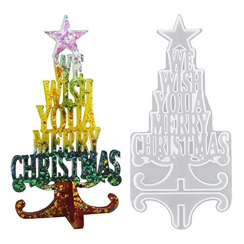 Luckynono Buon Natale Stampo in Resina Stampo per Gioielli in Cristallo, Stampo in Silicone per colata di Resina epossidica, mestiere di Argilla in Resina per Regali di Decorazione Natalizia