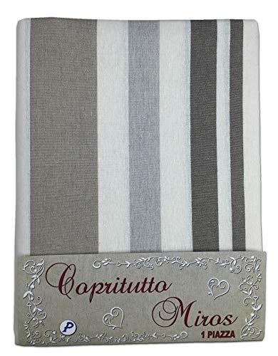 Tex family Tissu d'ameublement, grand foulard, couvre-lit, couvre-canapé, tissu Miros Riga Beige – 2 places