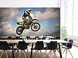 3D Moto Cross Nuages Sombres 8333 Transport Fond d'écran Mur Peintures Murales Amovible Murale   Auto-adhésif Papier Peint FR...