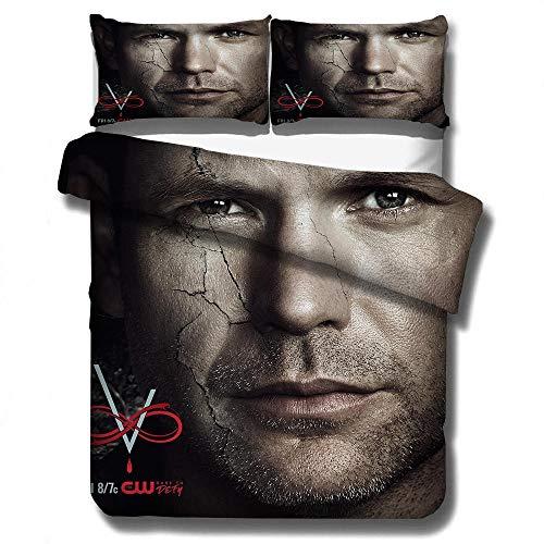 juego de cama con funda nórdica 3D de The Vampire Diaries, ropa de cama con funda edredón para adultos y adolescentes, textiles para el hogar tamaño completo suaves, cómodos-G_230x260cm (3pcs)