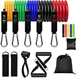 Resistance Bands Set of 16, Exercize Bands with Handles, Door Anchor, Ankle Straps, Resistance Loops for Workout at Home, Gym, Traveling, 150LBS