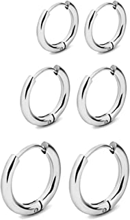 RhineYoka Hoop Earrings - 316L Stainless steel Small Endless Hoop Earrings For Women Girl Men, 3 Pairs Set of 8mm 10mm 12mm