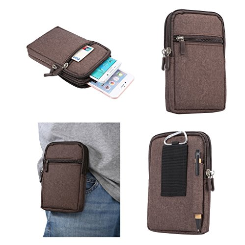 DFV mobile - Universal Multi-Functional Vertical Stripes Pouch Bag Case Zipper Closing Carabiner for Doogee Turbo DG2014 - Brown (17 x 10.5 cm)