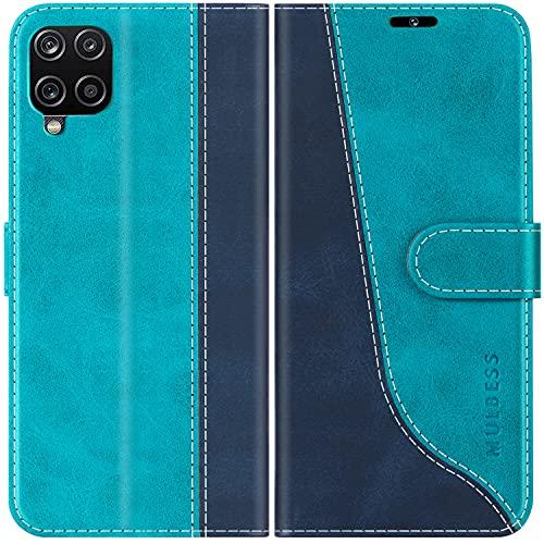 Mulbess Handyhülle Kompatibel mit Samsung Galaxy A12 Hülle, Samsung A12 Hülle Leder, Etui Flip Handytasche Schutzhülle für Samsung Galaxy A12 Case, Mint Blau