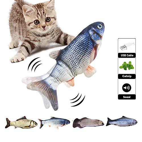 Kattenspeelgoed vis, realistische pluche simulatie elektrische pop vis, grappige interactieve huisdieren kussen kauwen bijten kick accessoires voor katten/kittens/kittens fish flop 4st